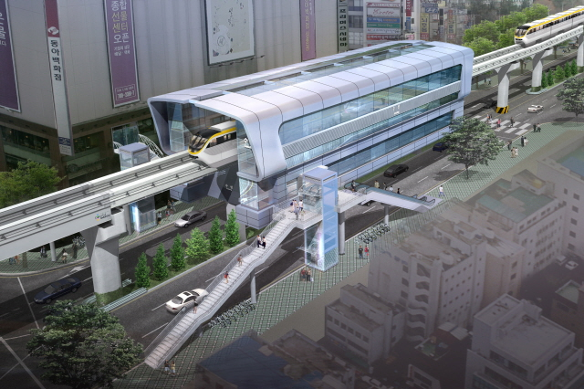 Art rendering of a proposed new monorail station for Daegu, South Korea