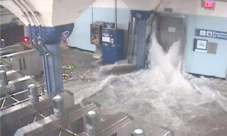 Hurricane Sandy subway images