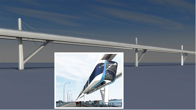 Design concept for cable-stayed a suspended SEFEGE monorail track in Montreal